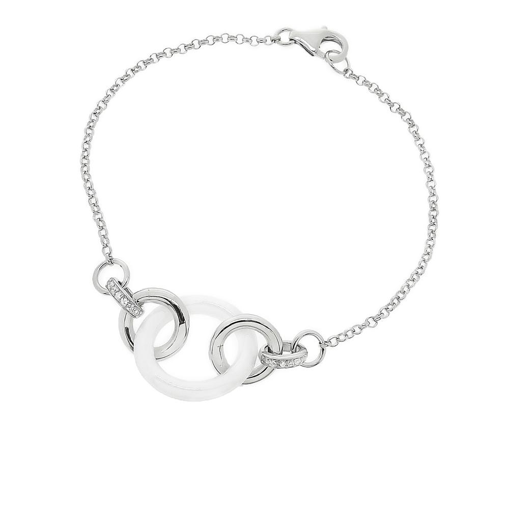 Фото «браслет из серебра с фианитами и керамикой»