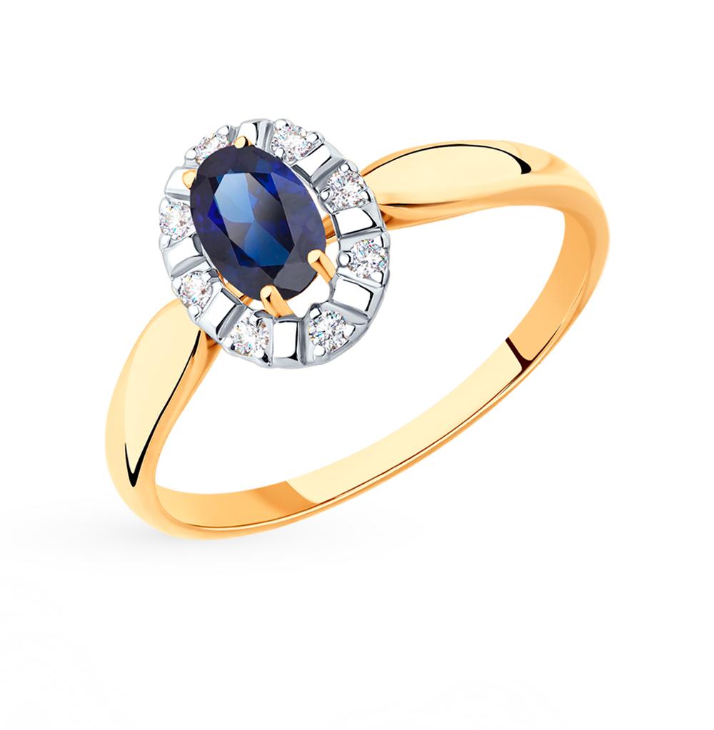 золотое кольцо с корундом и фианитами SOKOLOV 715447*