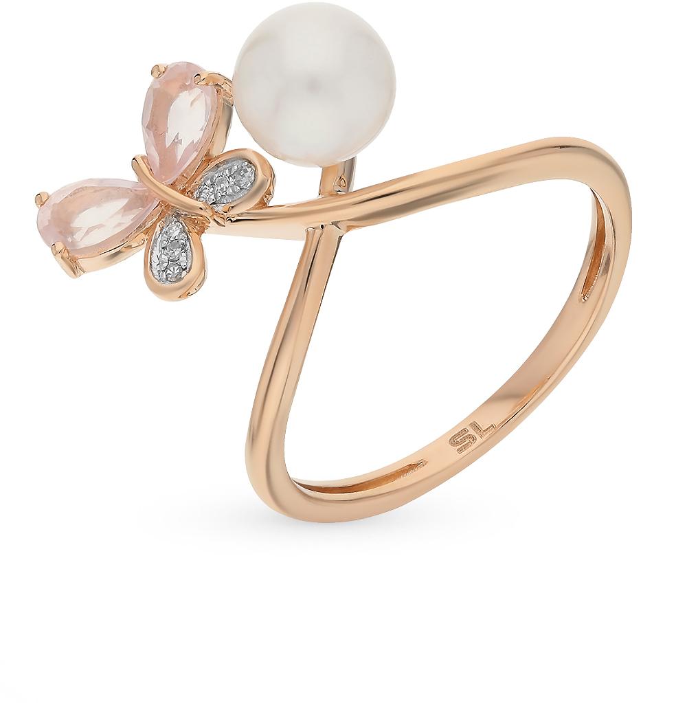 золотое кольцо с кварцем, жемчугом и бриллиантами