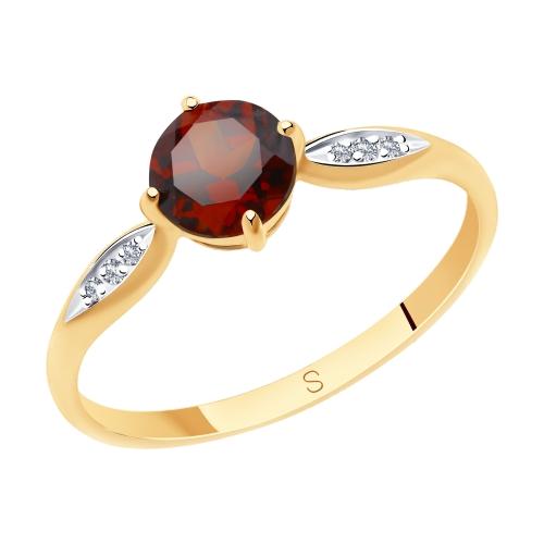 Фото «Золотое кольцо с фианитами и гранатом SOKOLOV 715744*»
