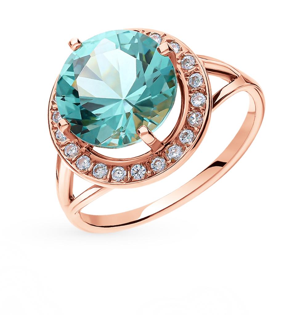Фото «Золотое кольцо с аквамарином и фианитами»