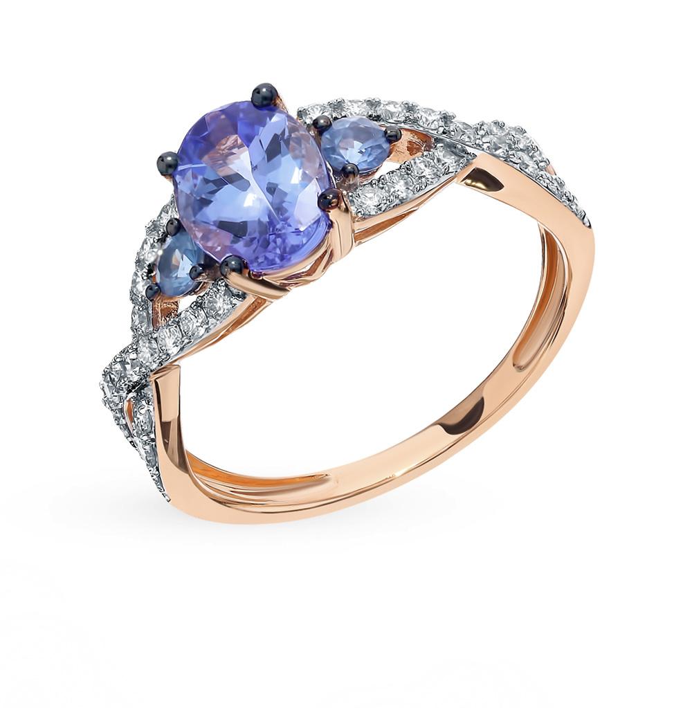 Золотое кольцо с танзанитом, сапфирами и бриллиантами в Санкт-Петербурге