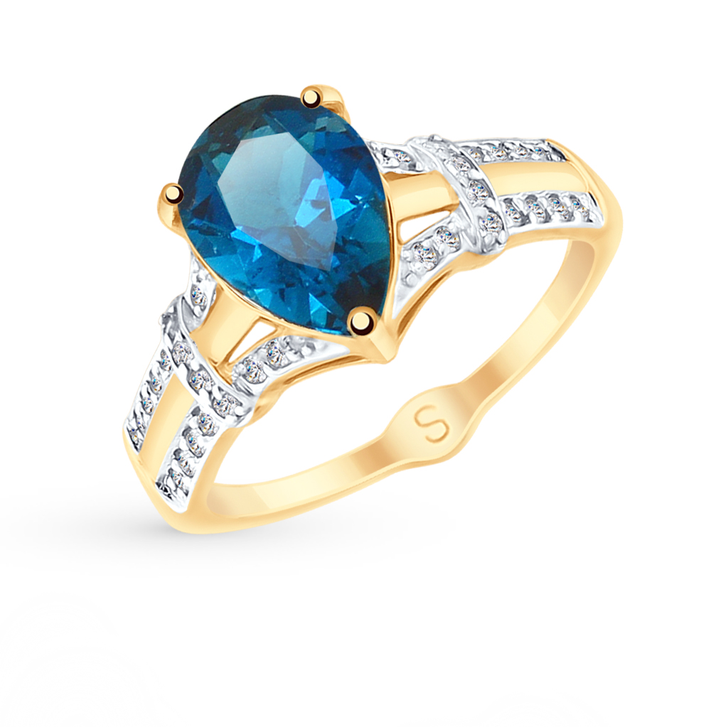 Золотое кольцо с топазами и фианитами SOKOLOV 715102* в Санкт-Петербурге