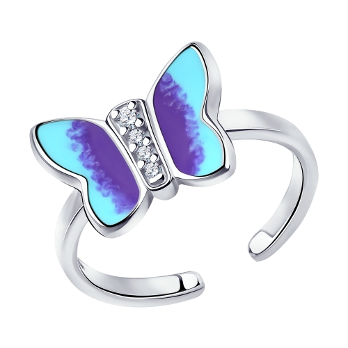 Серебряное кольцо с фианитами и эмалью SOKOLOV 94013120 в Санкт-Петербурге