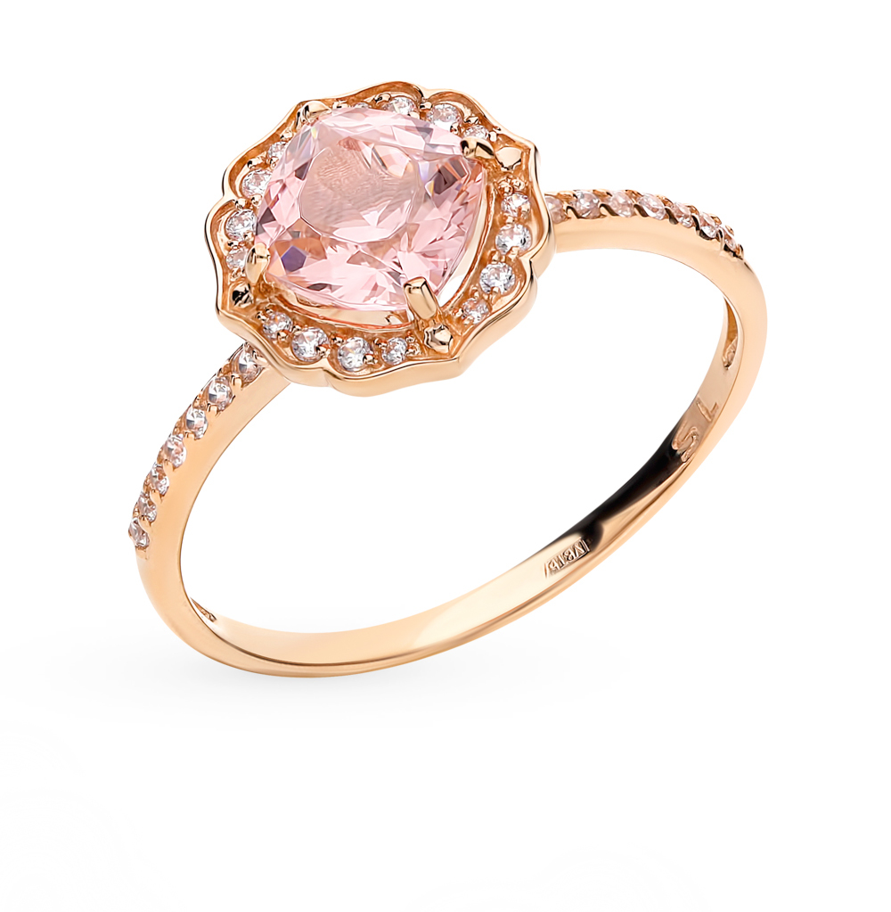 Фото «Золотое кольцо с морганитами и фианитами»