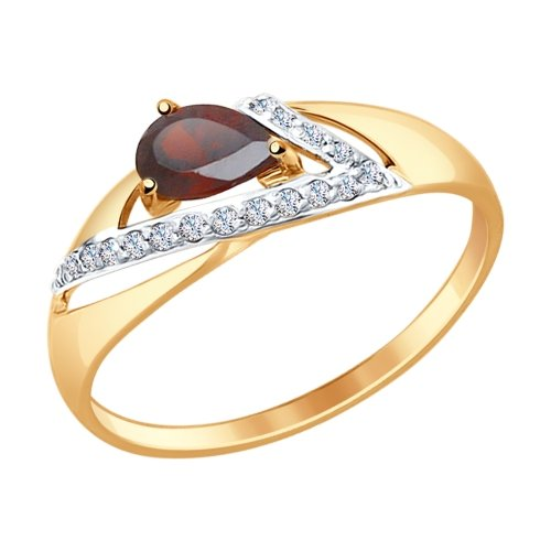Фото «Золотое кольцо с фианитами и гранатом SOKOLOV 714675*»