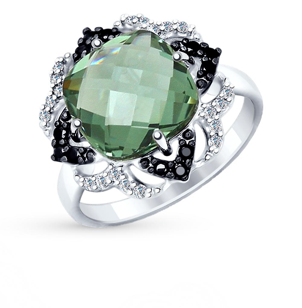 Серебряное кольцо с кварцем и фианитами SOKOLOV 92011347 в Санкт-Петербурге