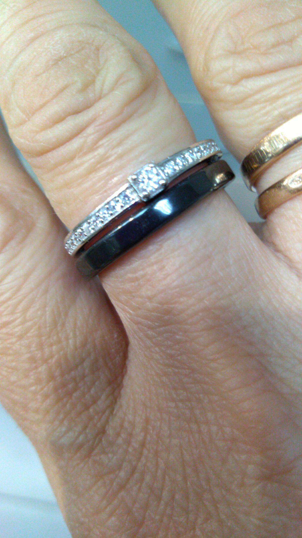 Кольцо керамика плюс серебро