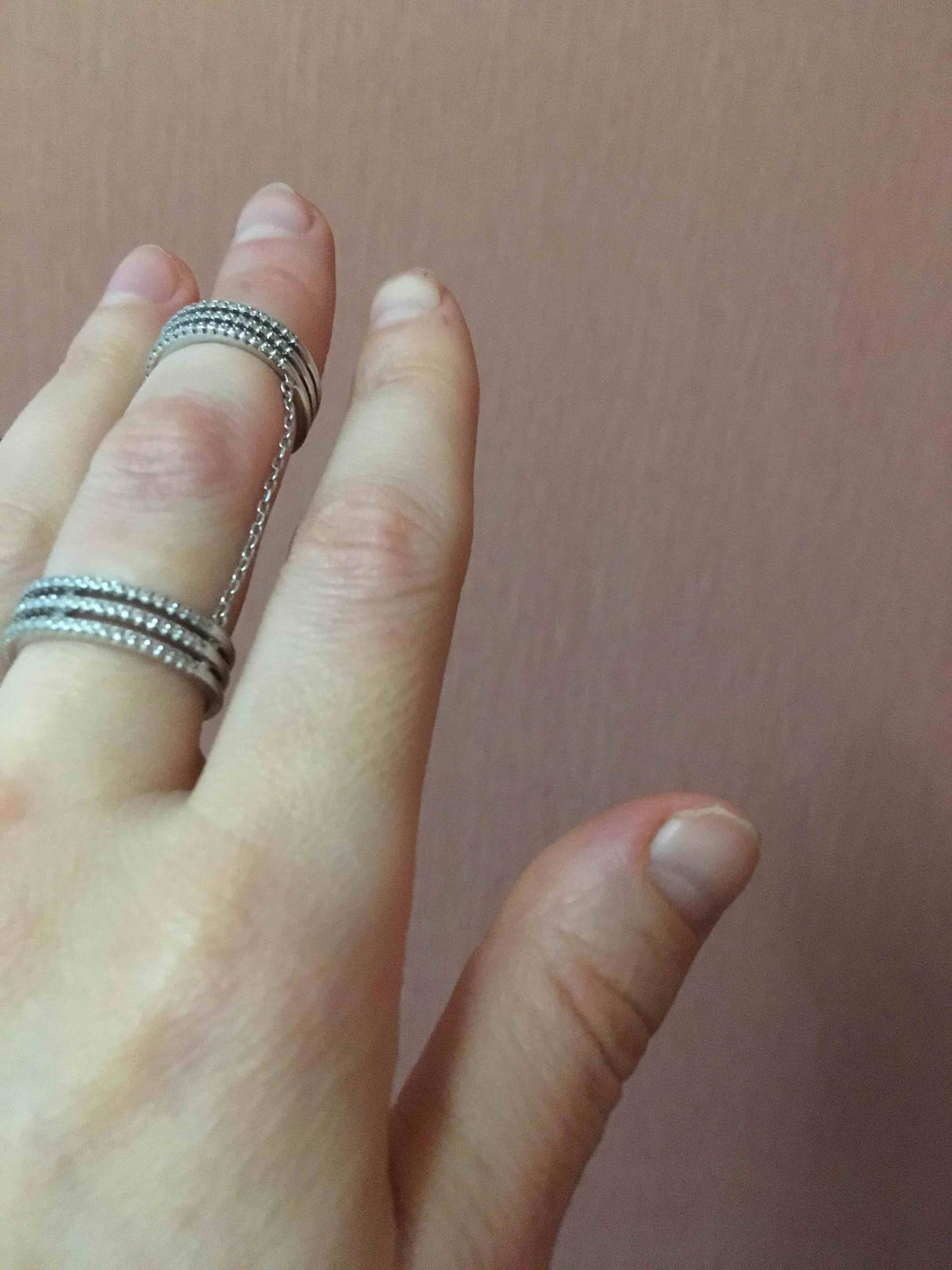 Стильное кольцо на 2 фаланги с цепочкой