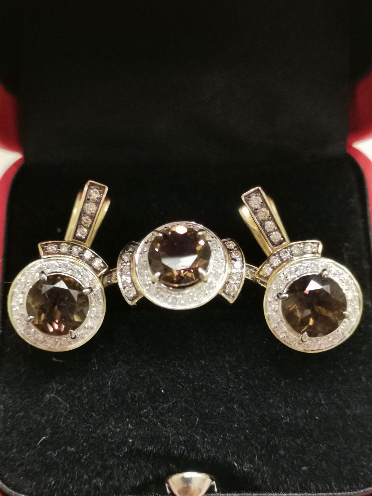 Великолепные серьги с раухтопазом и бриллиантами.
