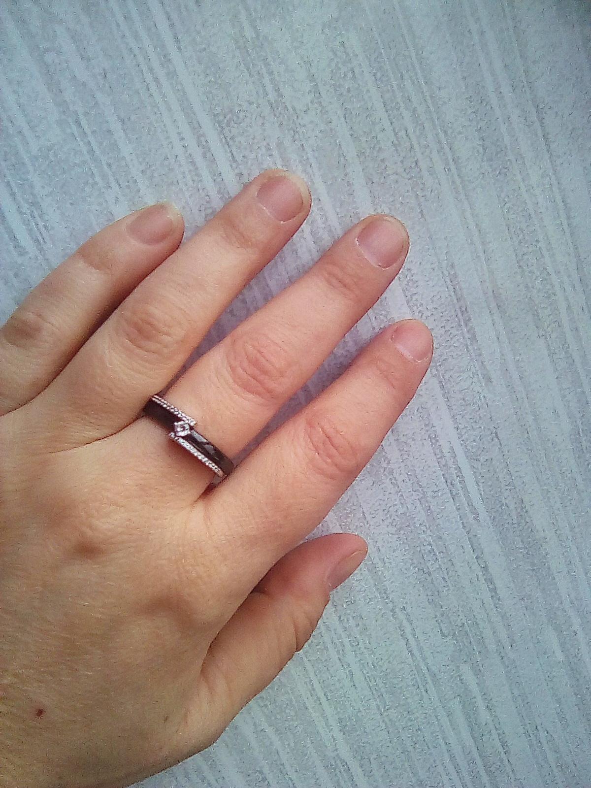 Кольцо серебро керамика