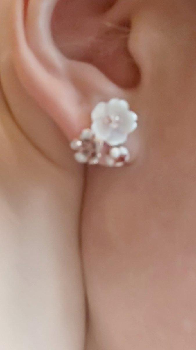 Серьги из серебра нежные цветочки.