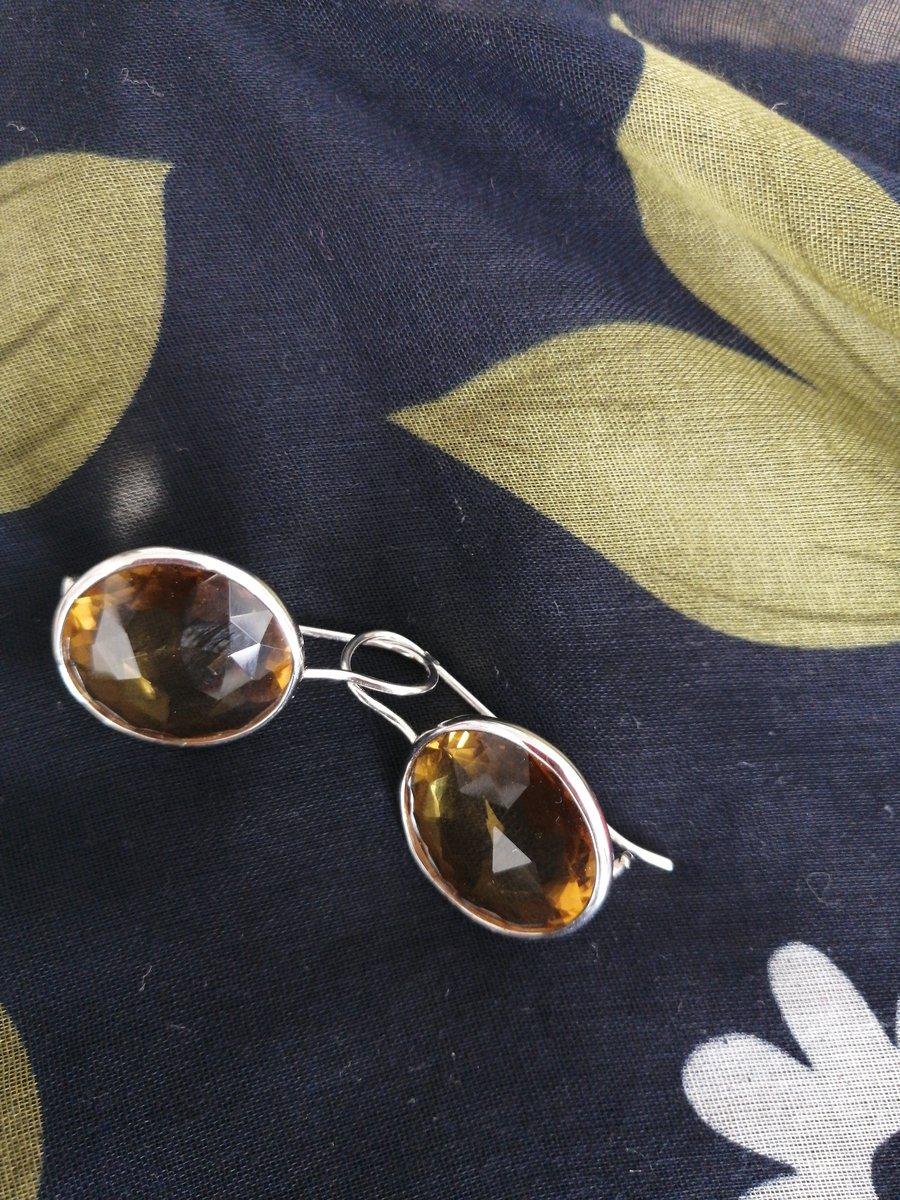 Серебряные серьги с жёлтым алпанитом