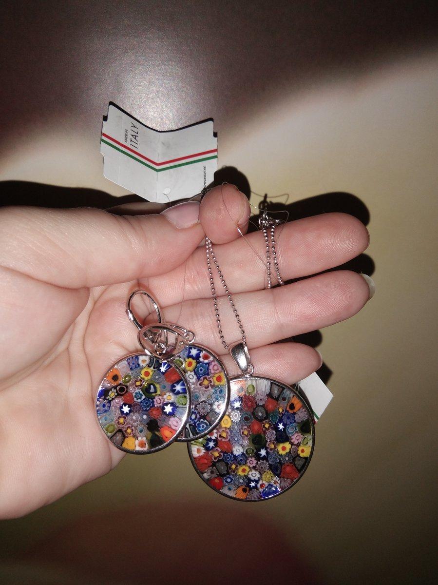 Серьги серебряные с муранским стеклом