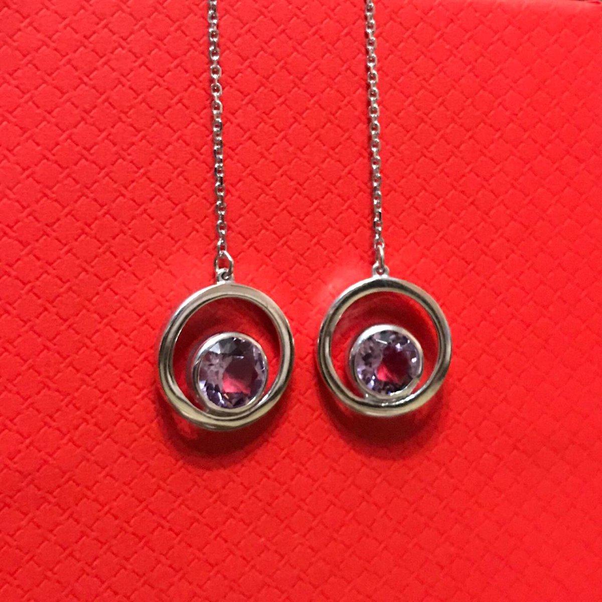 Серебряные серьги с аметистами