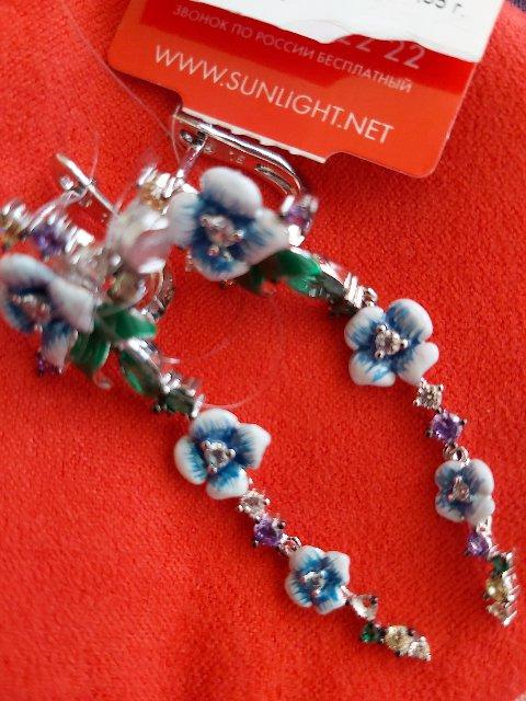 Серьги висячие с голубыми цветами