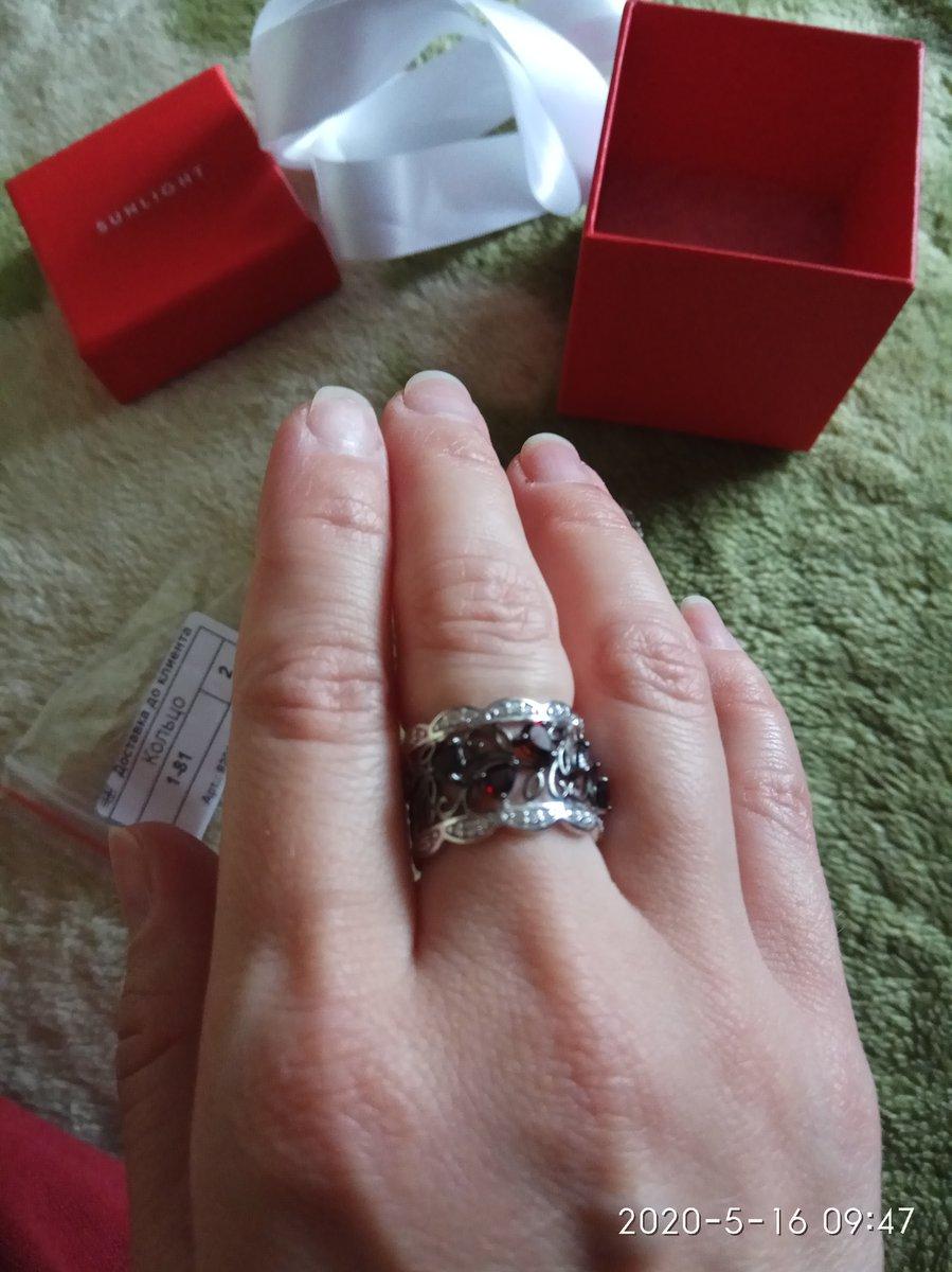 Кольцо серебряное с гранатом и фианитами