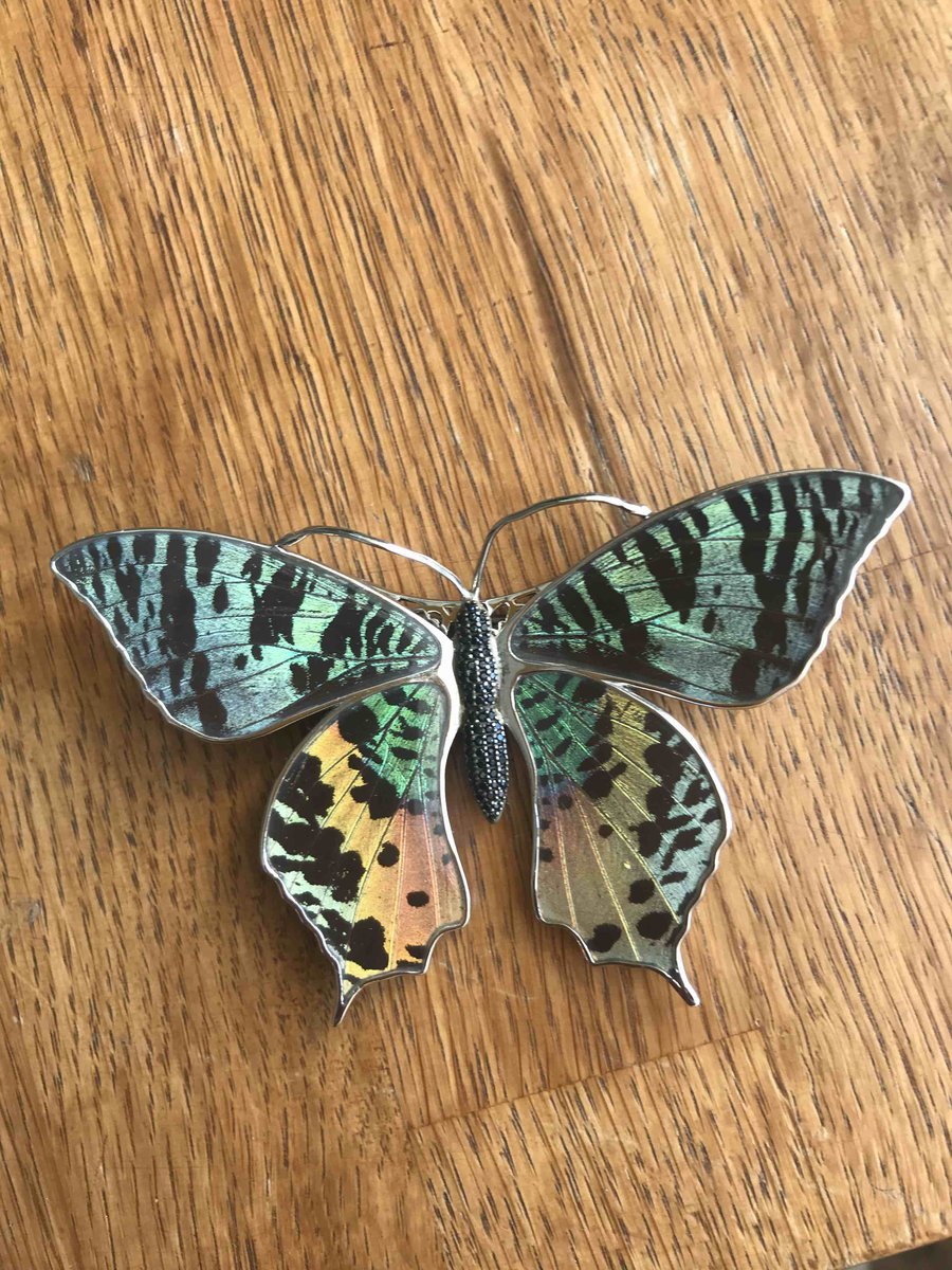 Очаровательная бабочка из серебра с эмалью на магнитах. почти как живая)).