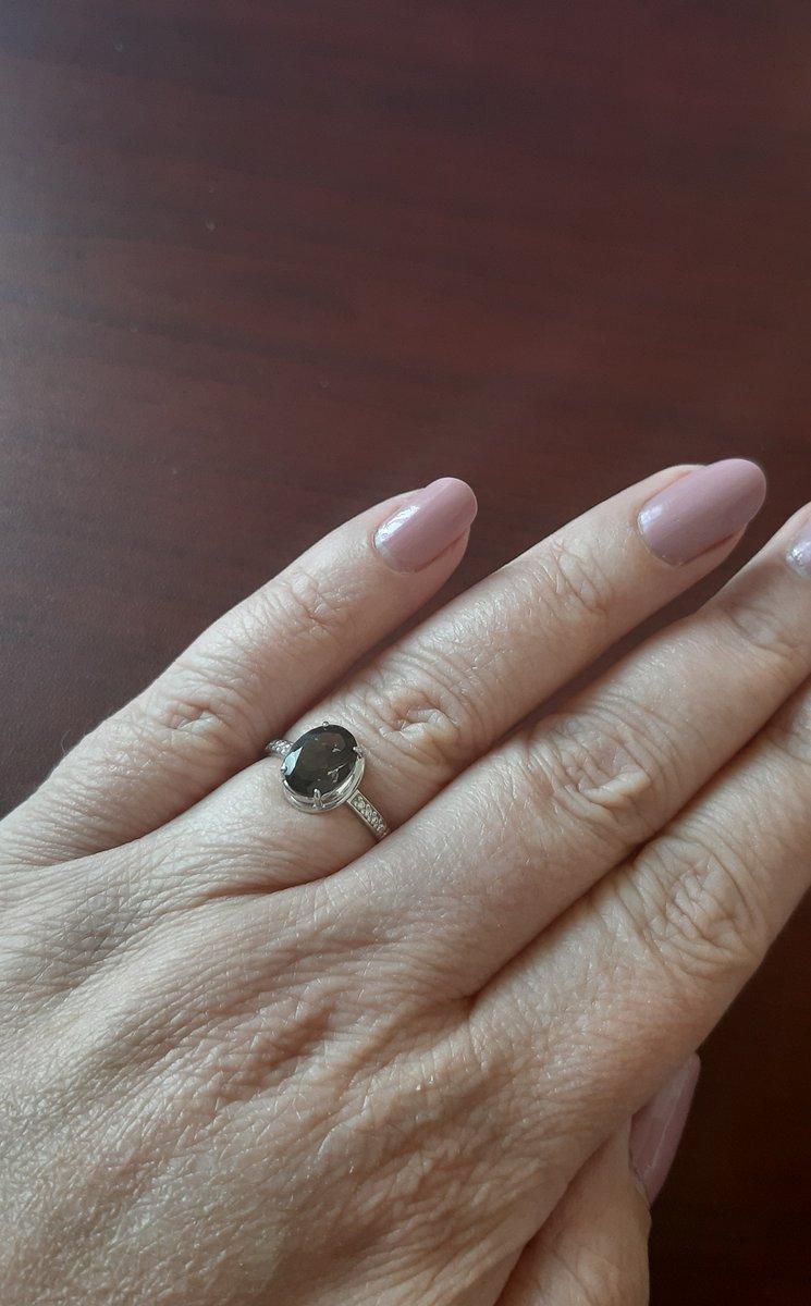 Кольцо с раух-топазом
