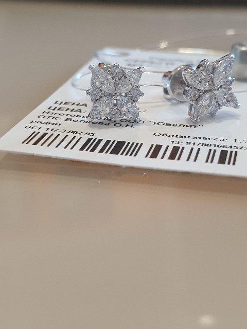 Серебряные серьги с фианитами SOKOLOV.