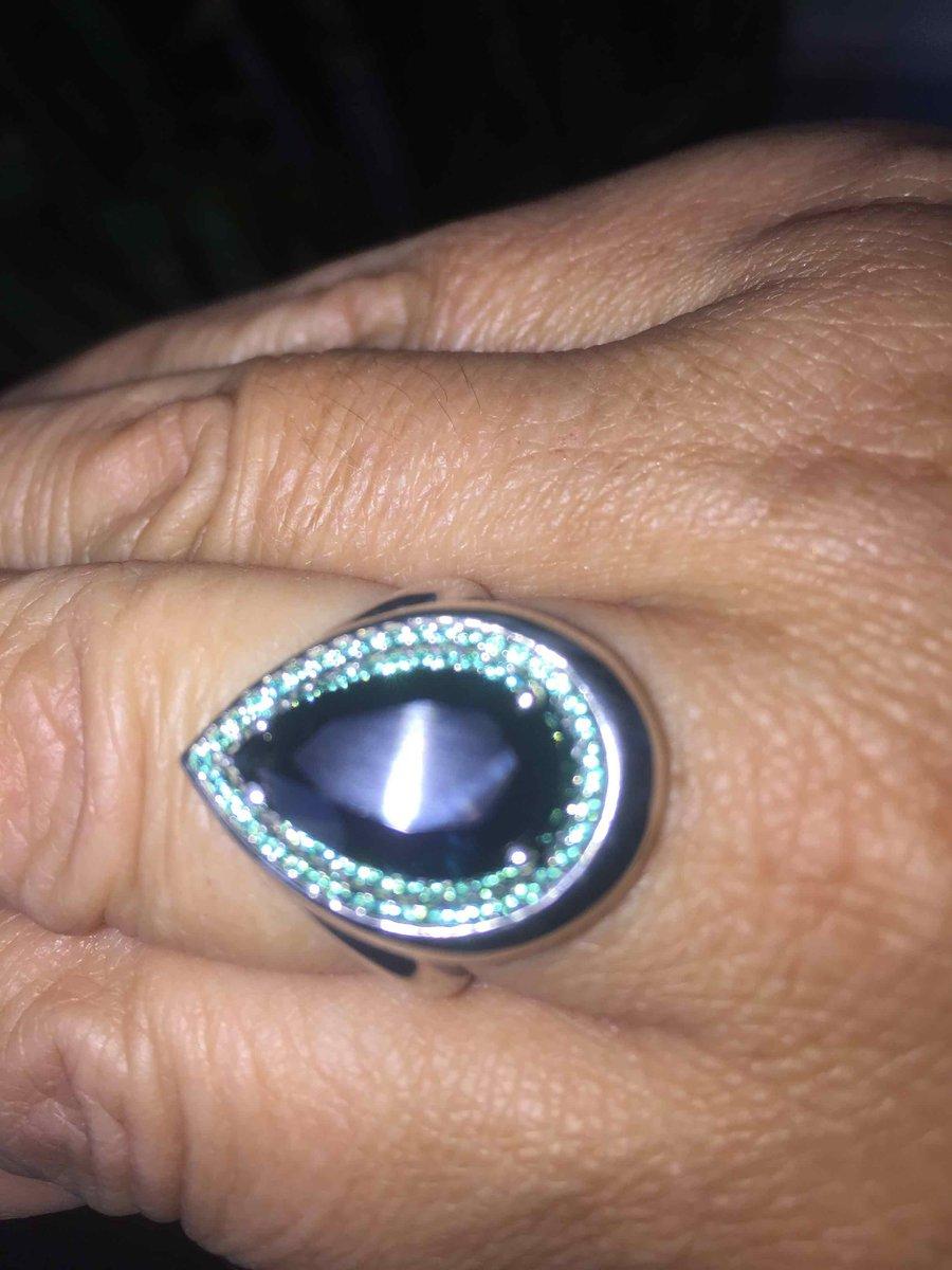 Кольцо с лондон топазом и изумрудами.
