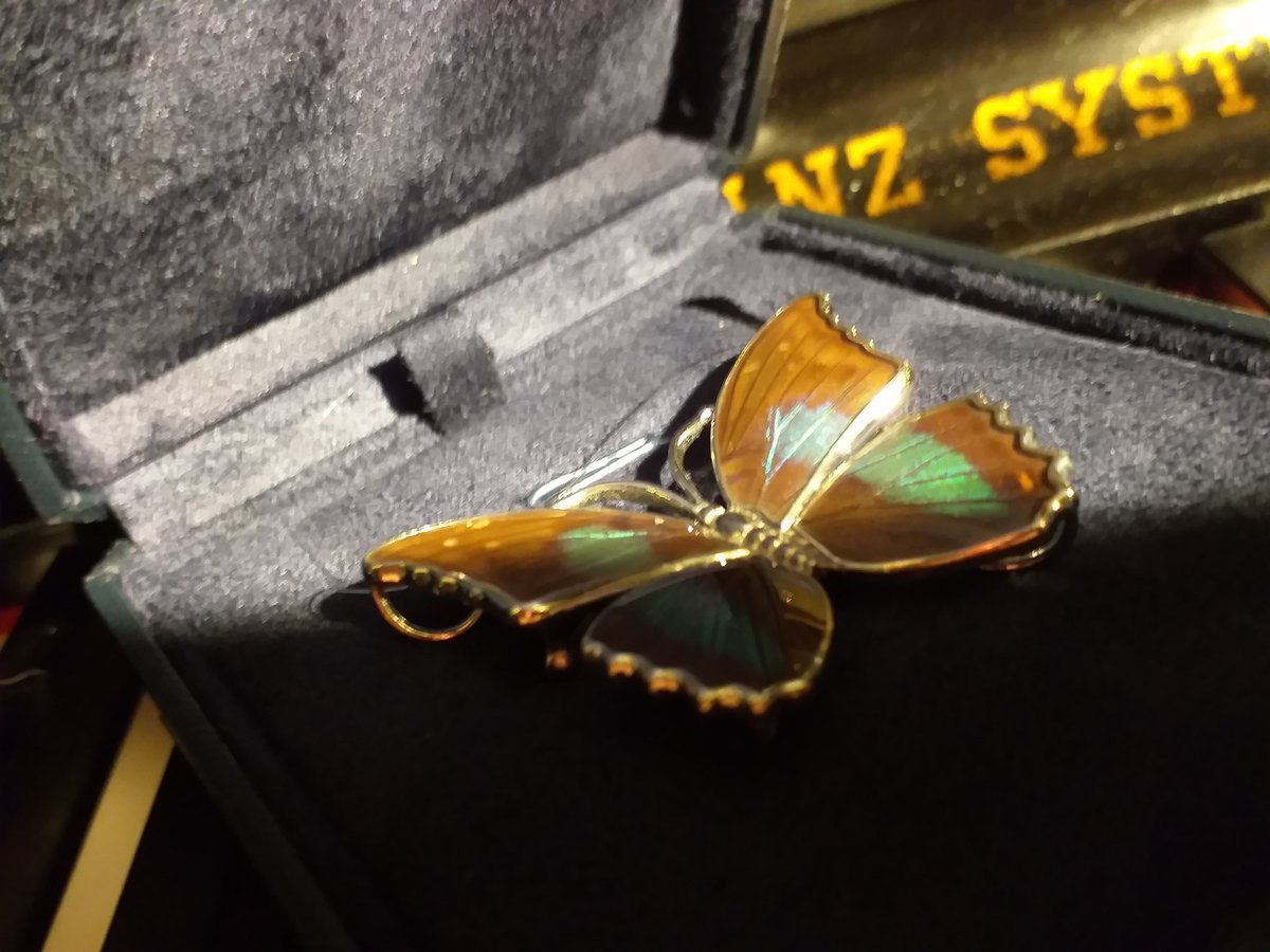 Серебряная бабочка с эмалью(брошь)