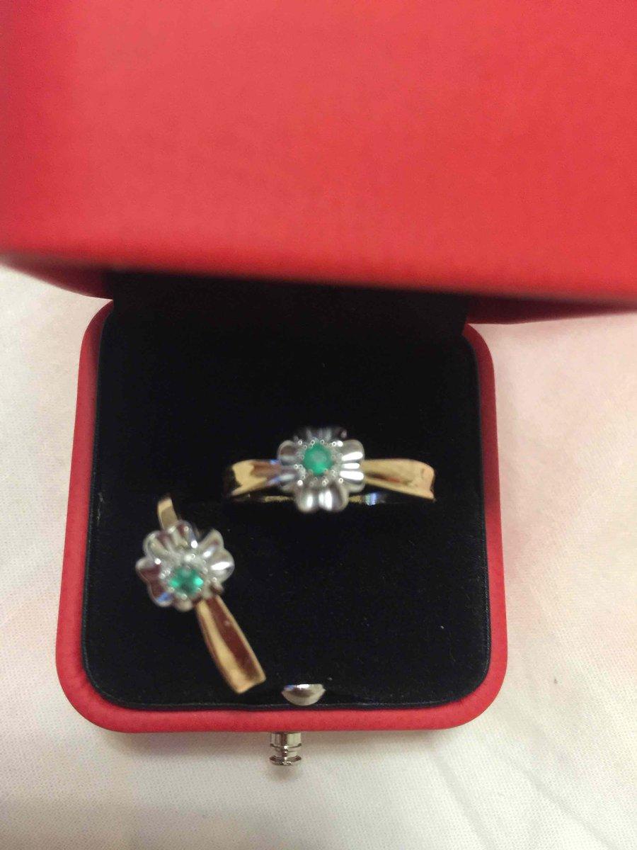 Кольцо с изумрудом натуральным и бриллиантами
