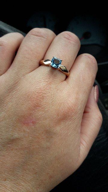 Кольцо с топазом (голубой)