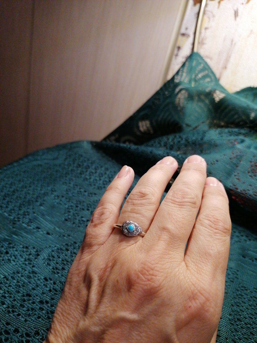 Кольцо с бирюзой и кораллом