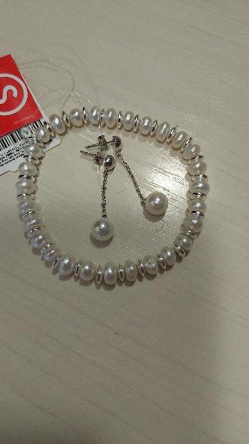 Серебренный браслет с жемчугом