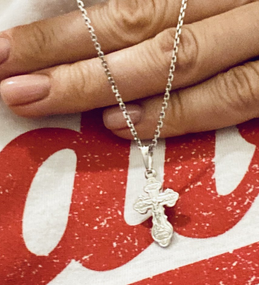 Крестик из белого золота