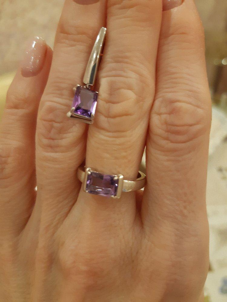 Серьги и кольцо с аметистом