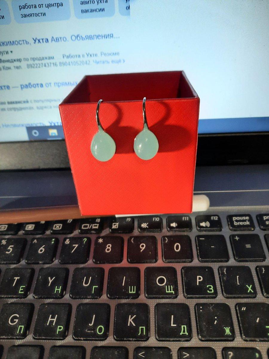 Серебряные серьги с алпанитом.