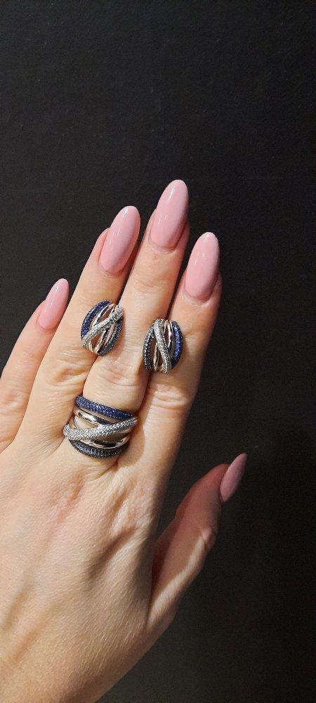 Кольцо 💍 с синими фианитами