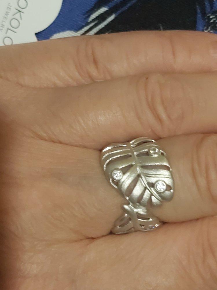 Нежное кольцо из матового серебра