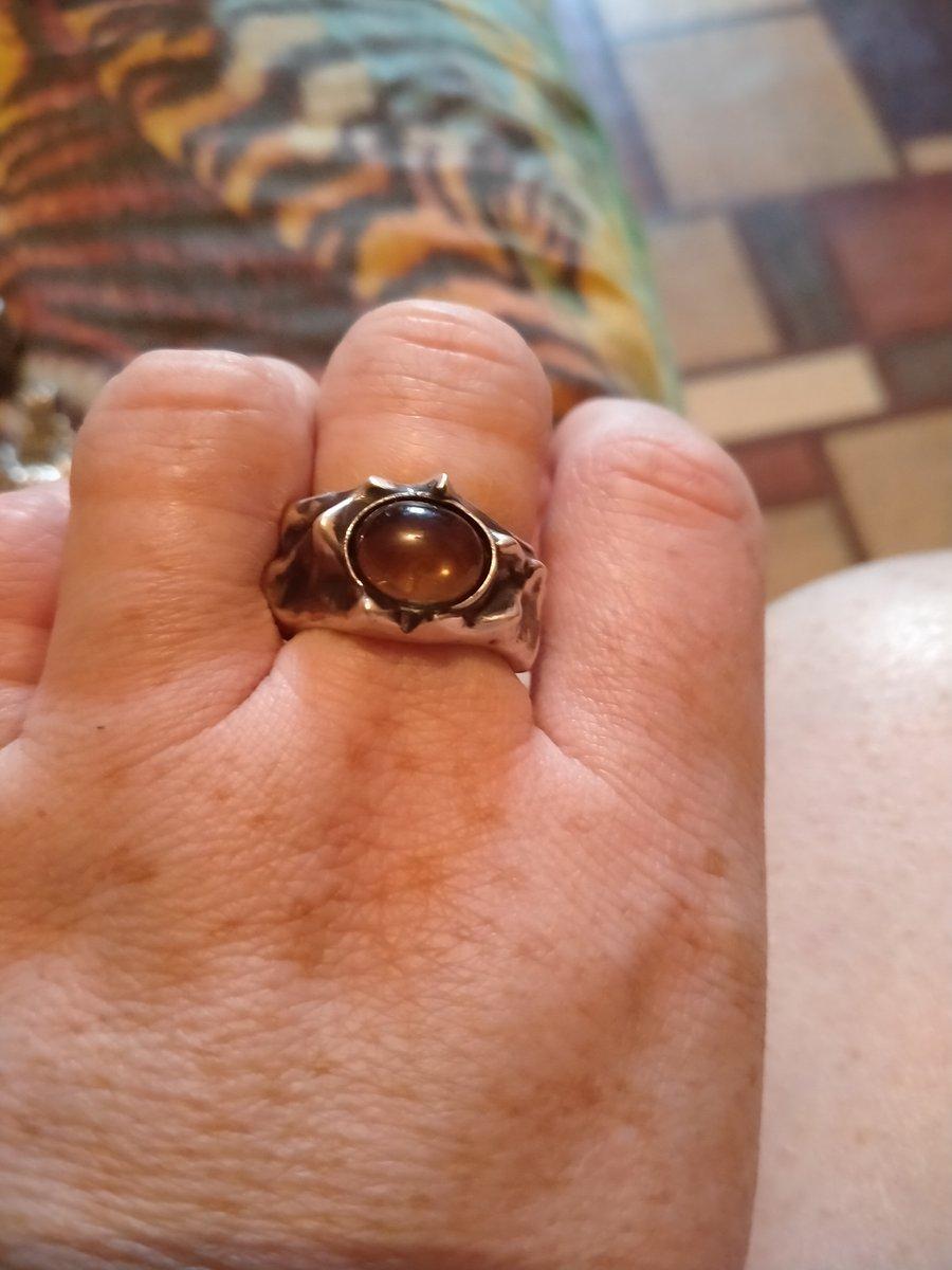 Кольцо с раух топазом.