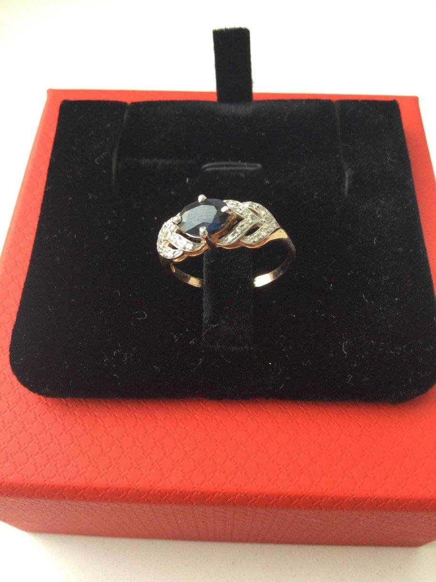 Кольцо с натуральым сапфироми брильянтами