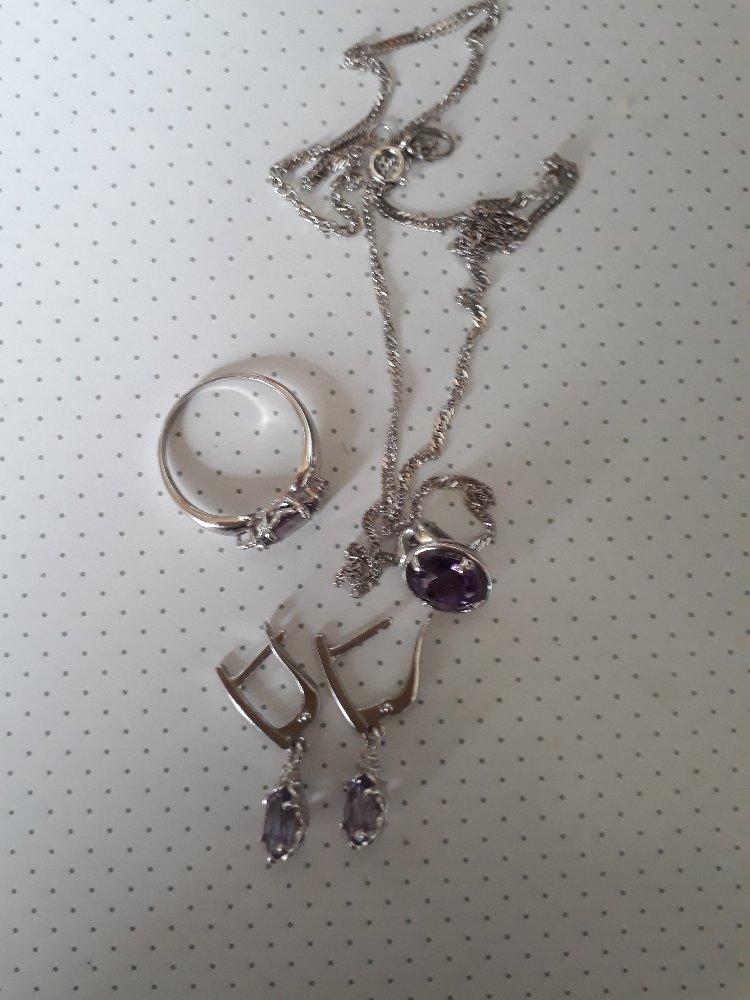 Серебряные серьги с аметистом и фианитами.