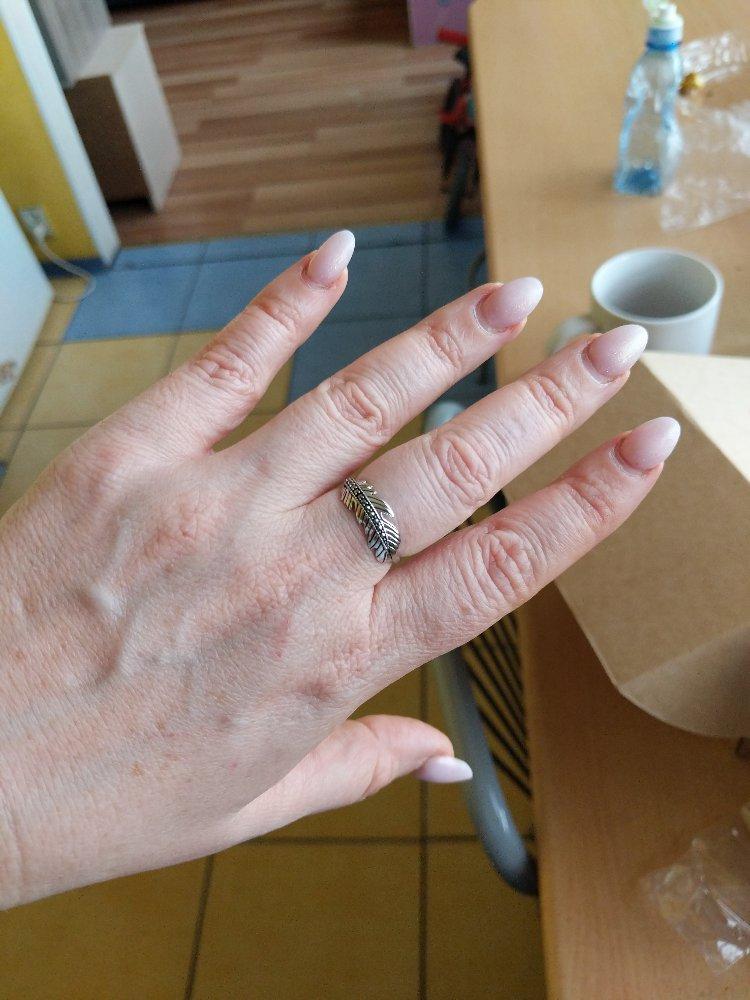 Кольцо перо из серебра