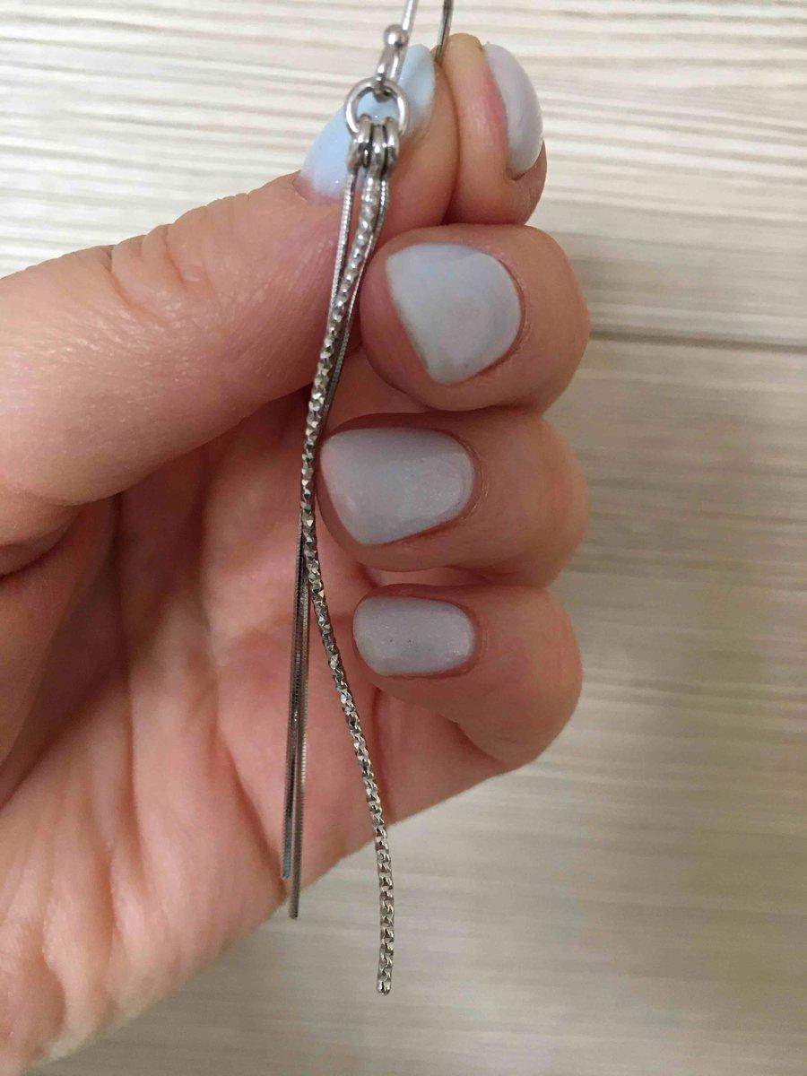 Длинные серьги из серебра из трех цепочек