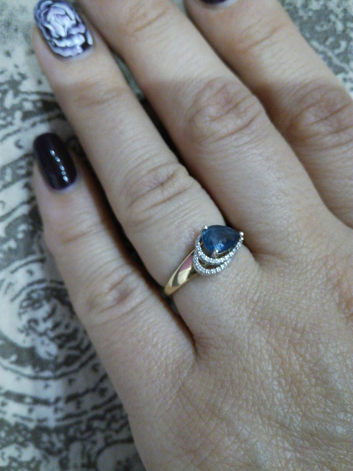 Кольцо с лондон-топазом