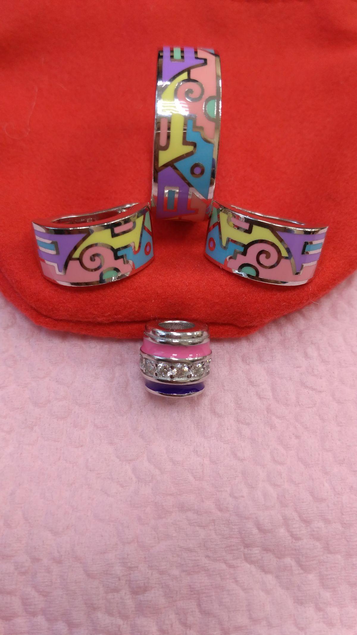 Серебряные серьги с цветной эмалью