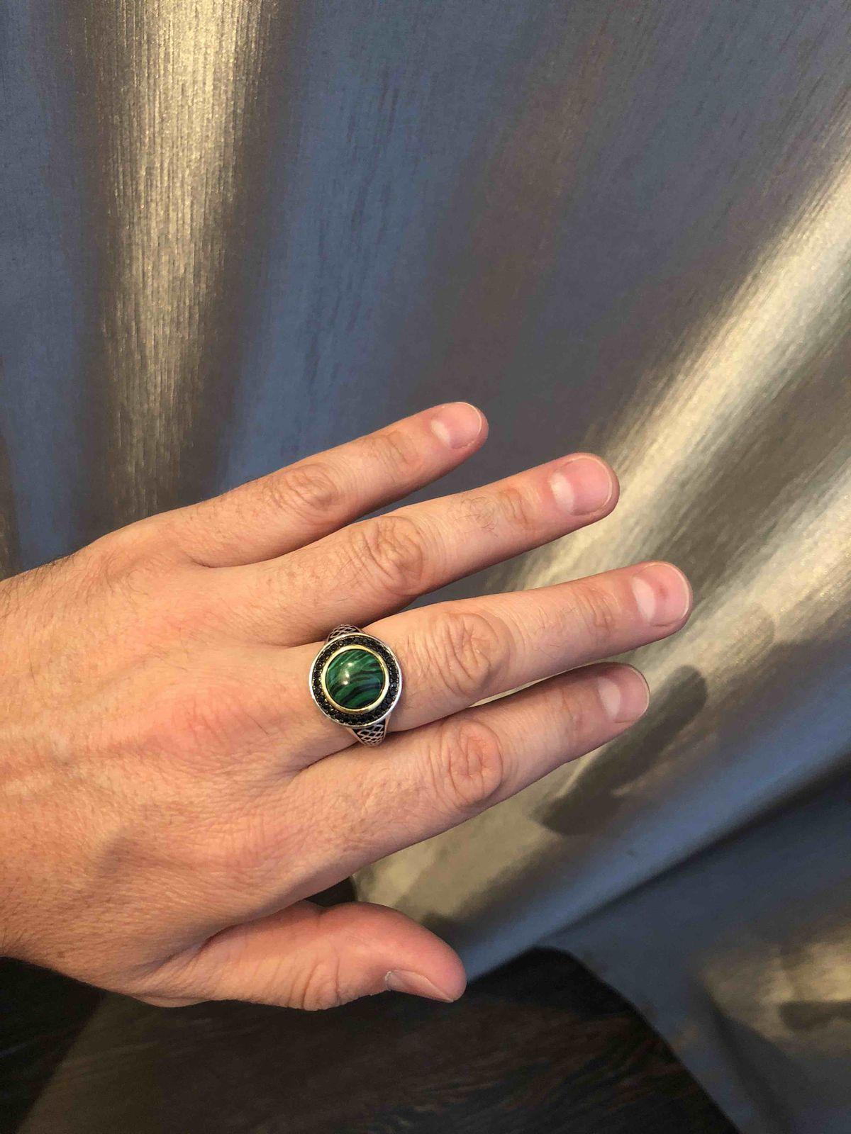 Кольцо с малахитом