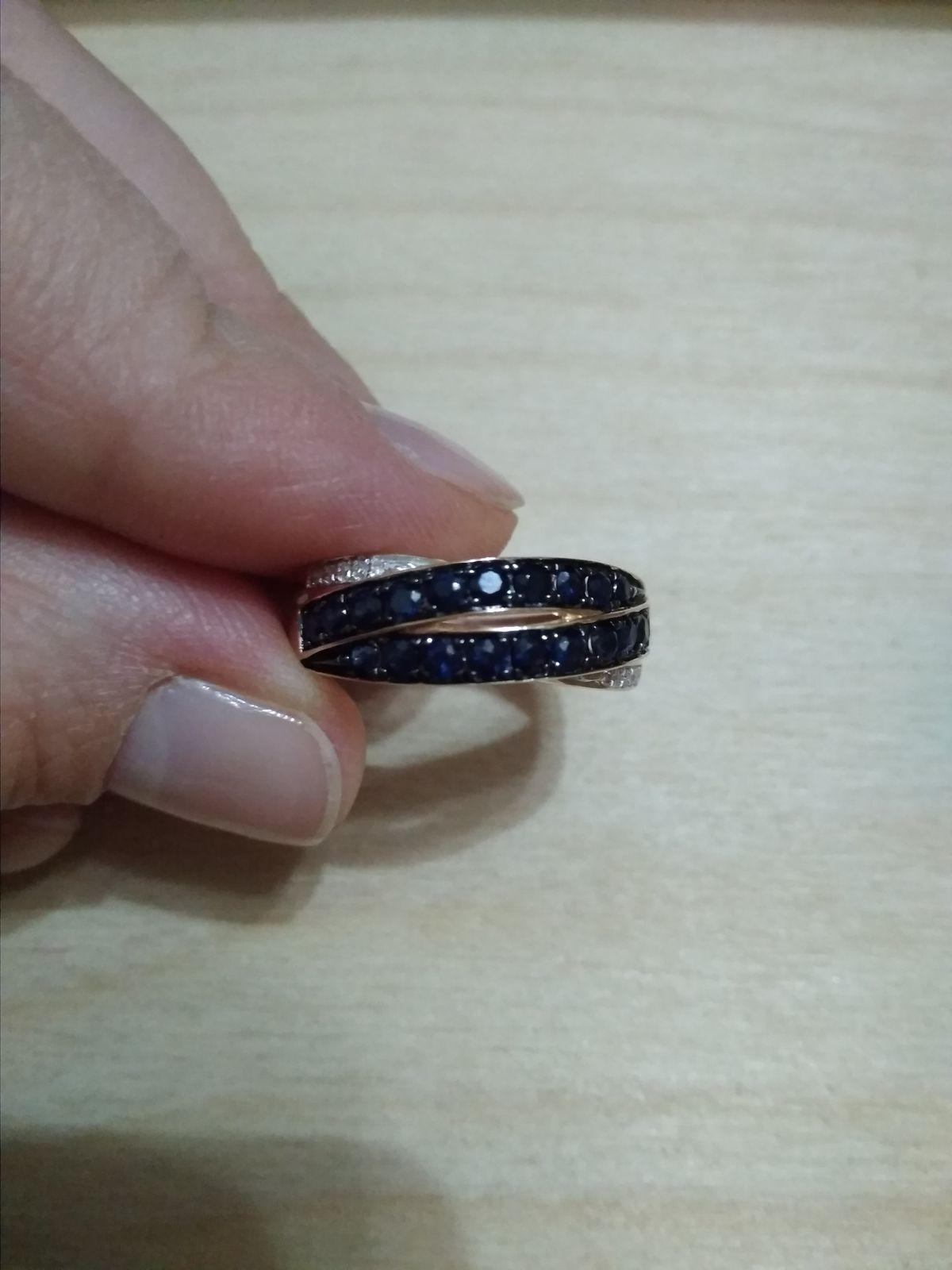 Супер кольцо с сапфирами и бриллиантами