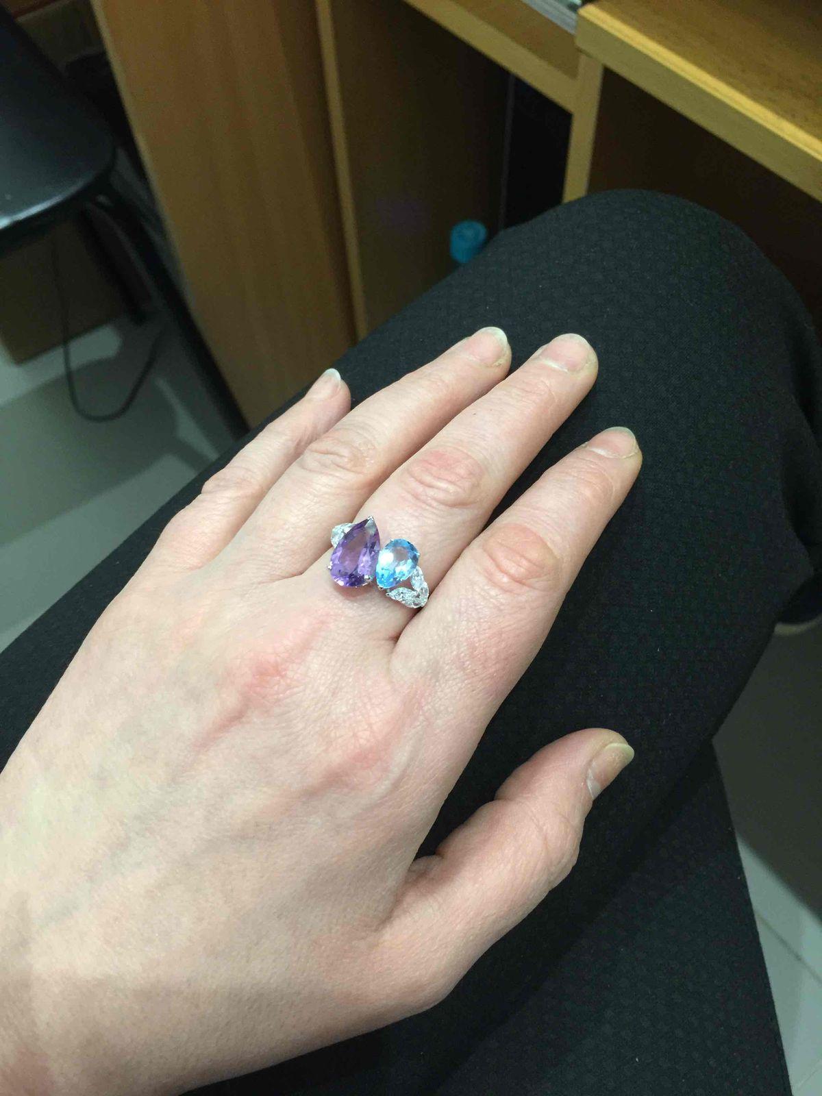 Кольцо серебрянное с аметистом и топазом