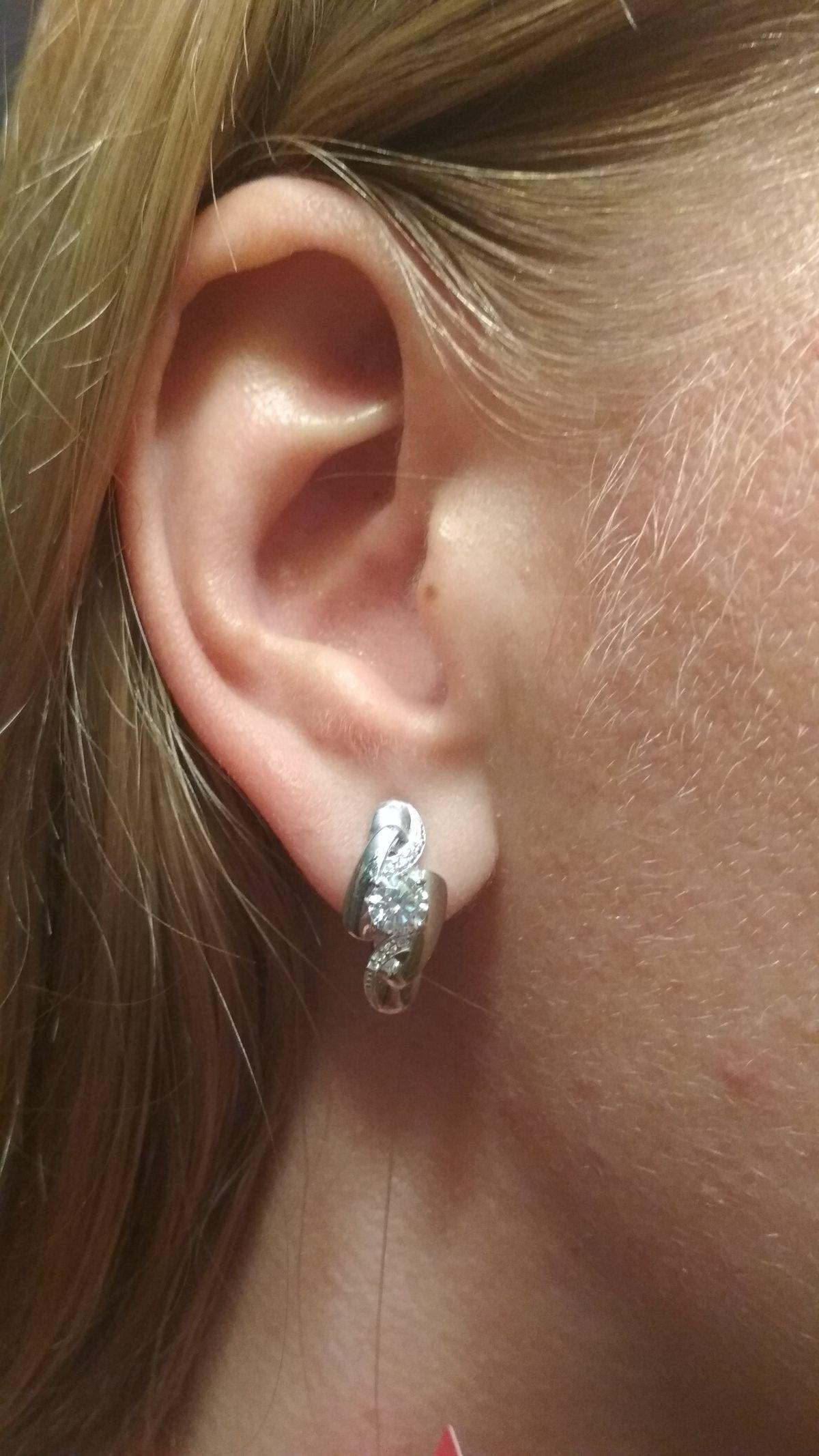 Сережки серебряные с фианитами