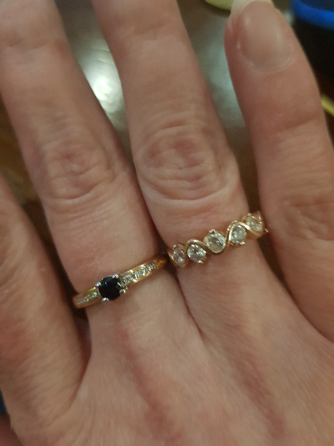 Колечко с бриллиантами и сапфиром