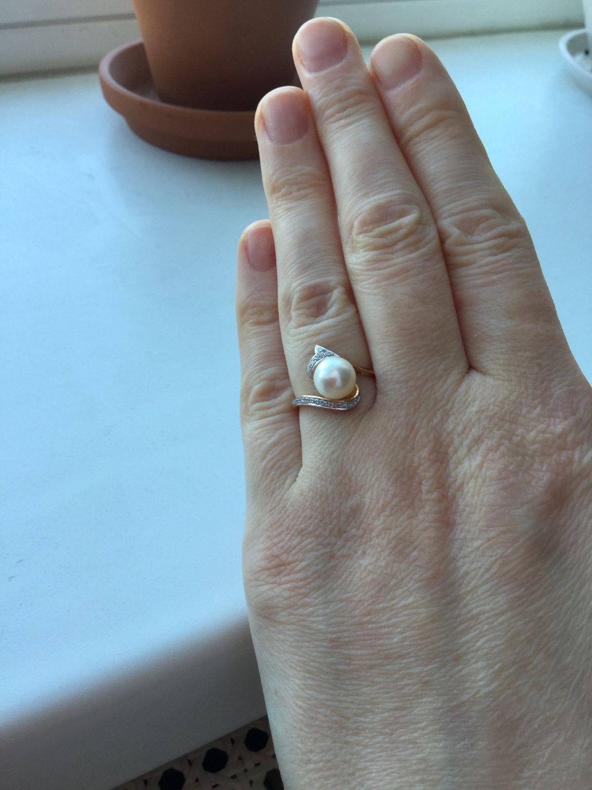 Кольцо с жемчугом. Нежное и оригинальное