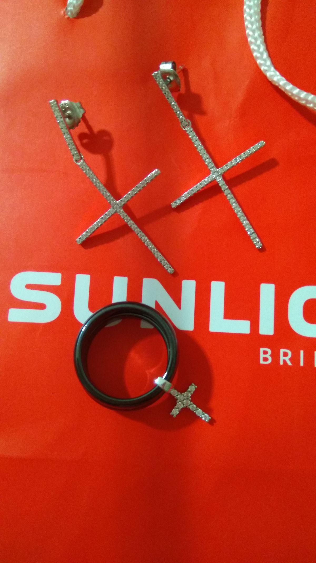 Кольцо с подвеской- крестиком