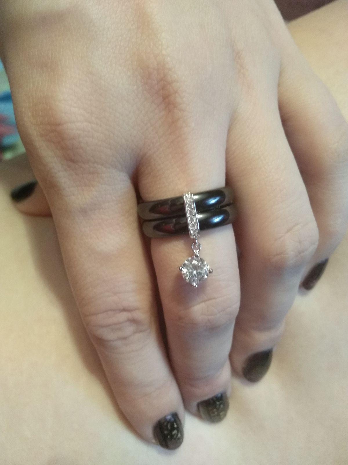 Кольцо керамика-серебро